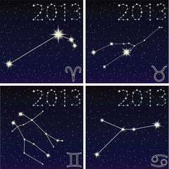 the constellation Aries, Taurus, Gemini, Cancer, 2013