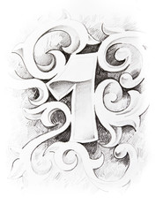 Tattoo sketch of one number, hand made