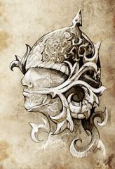 Fototapete - Sketch of tattoo art, warrior, hand made