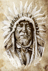 Wall Mural - Sketch of tattoo art, native american indian head, chief, vintag