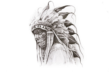 Wall Mural - Tattoo sketch of Native American Indian warrior, hand made