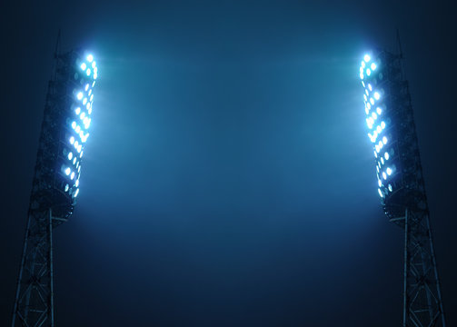 Stadium Lights against Dark Night Sky with Copy Space