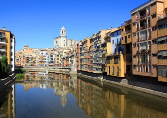 Spain. Zhirona. View of the old city and river Onyar