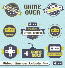 Vector Set: Vintage Video Game League Labels