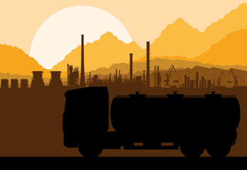 Industrial oil refinery factory and gasoline truck cistern
