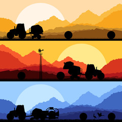 Agriculture tractors making hay bales in cultivated country fiel