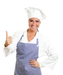 Happy chief cook giving thumbs up. Isolated on white.