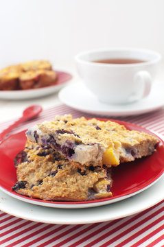 Oats with blueberry and peach squares