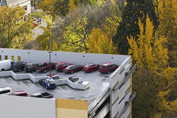 Cars parked on rooftop in city with autumn foliage