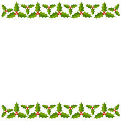 Christmas holly border and frame postcard