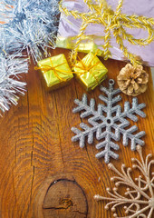 Cristmas decoration on the wooden background,