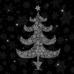 Christmas tree silhouette. Vector illustration, EPS8