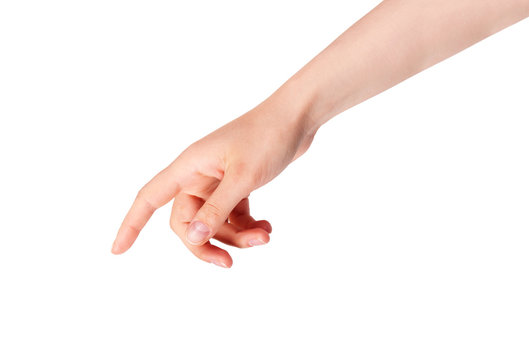 woman's finger pointing or touching