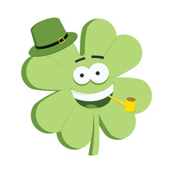 Cute 4 leaves Saint Patrick's day shamrock character