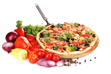 Delicious pizza with ingredients around isolated on white