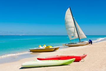 Colorful boats on the cuban beach of Varadero