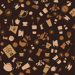 Vector coffee seamless. background pattern and icon