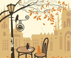 Poster de jardin Drawn Street cafe landscape of the old town with a street cafe