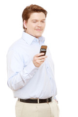 Young businessman making photo of himself