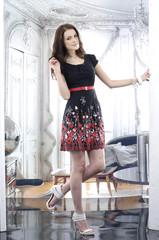 beautiful stylish girl in fashion stylish dress posing