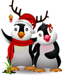 cute penguin christmas cartoon couple with love