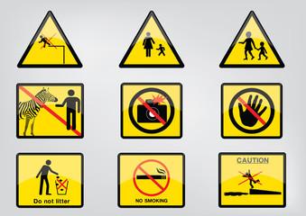 caution signs vector for all place