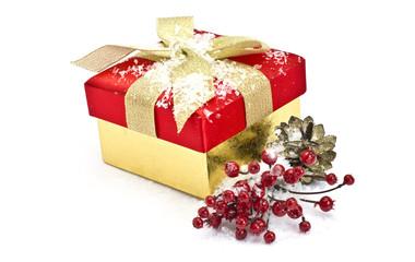 Festive gift box  isolated on white background
