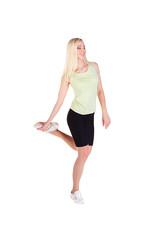 girl doing her exercise on one leg
