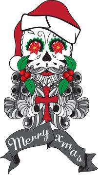 Santa Candy Skull Tattoo Style