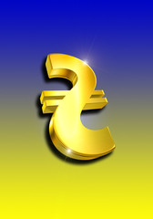Hryvnia symbol on a blue and yellow background
