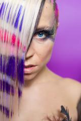 Colourful hair woman