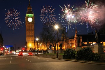 Fireworks over houses of parliament uk