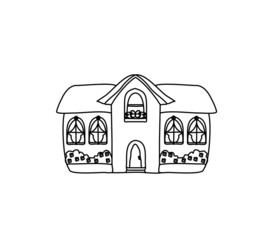Sketch Doodle House Vector Illustration