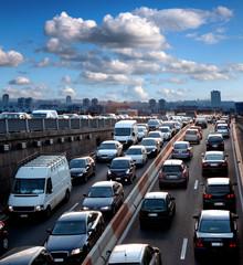 Traffic jam. Rush hour. Cars.