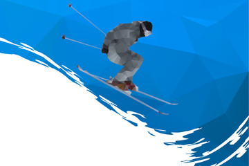 flying skier on mountains , vector illustration
