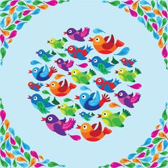 Poster Oiseaux, Abeilles Funny Birds