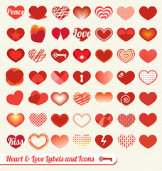Vector Set: Heart and Love League Labels
