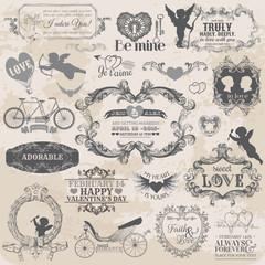 Scrapbook Design Elements - Vintage Valentine's Love Set