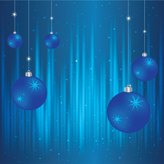 Vector blue Christmas background with balls