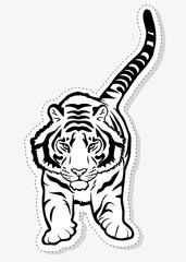 Jumping tiger sticker