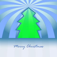 classic shape green christmas tree and striped background