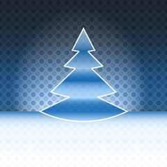 cool christmas tree shape  blue spotted background vector card