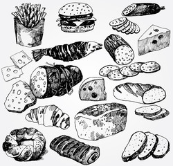 Set of Different Food Hand Drawn