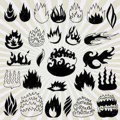 Big Collection of Different Comic Flames hand Drawn