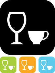 Vector icon isolated on white - Cup and Wine glass