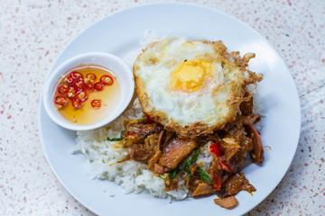 Thai basil stewed pork  with fried egg