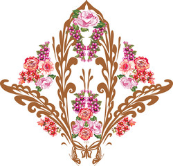 brown decoration with pink and red flowers