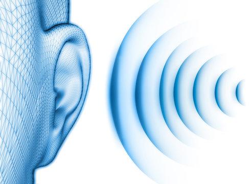 Ohr mit Schall vor weiss