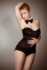 beautiful sexy  pin-up girl in black corset