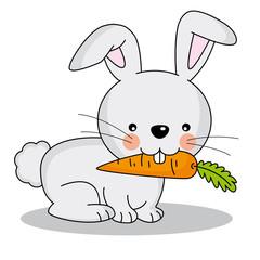 Conejo comiendo una zanahoria